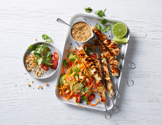 Chicken Satay Skewers with Pickled Cucumber & Carrot Salad